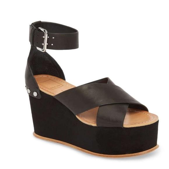 43da755934b NWT Dolce Vita Dalrae Platform Wedge Sandal Black